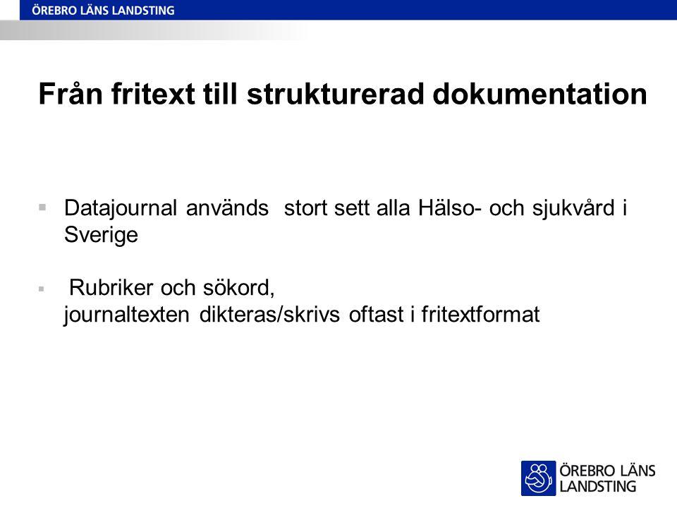 Från fritext till strukturerad dokumentation  Datajournal används stort sett alla Hälso- och sjukvård i Sverige  Rubriker och sökord, journaltexten