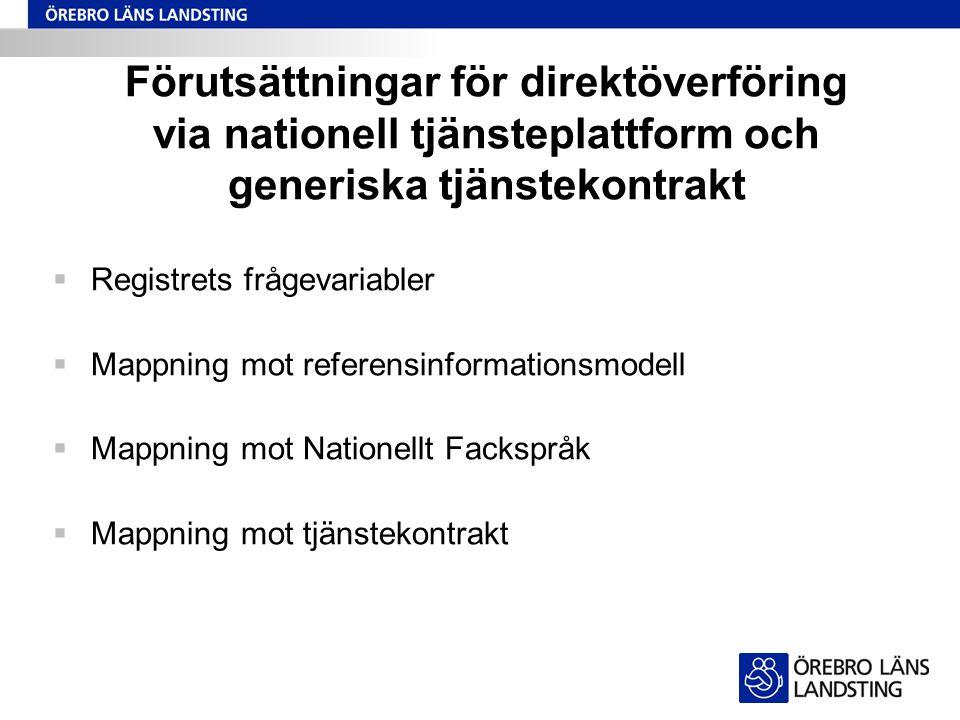 Förutsättningar för direktöverföring via nationell tjänsteplattform och generiska tjänstekontrakt  Registrets frågevariabler  Mappning mot referensi