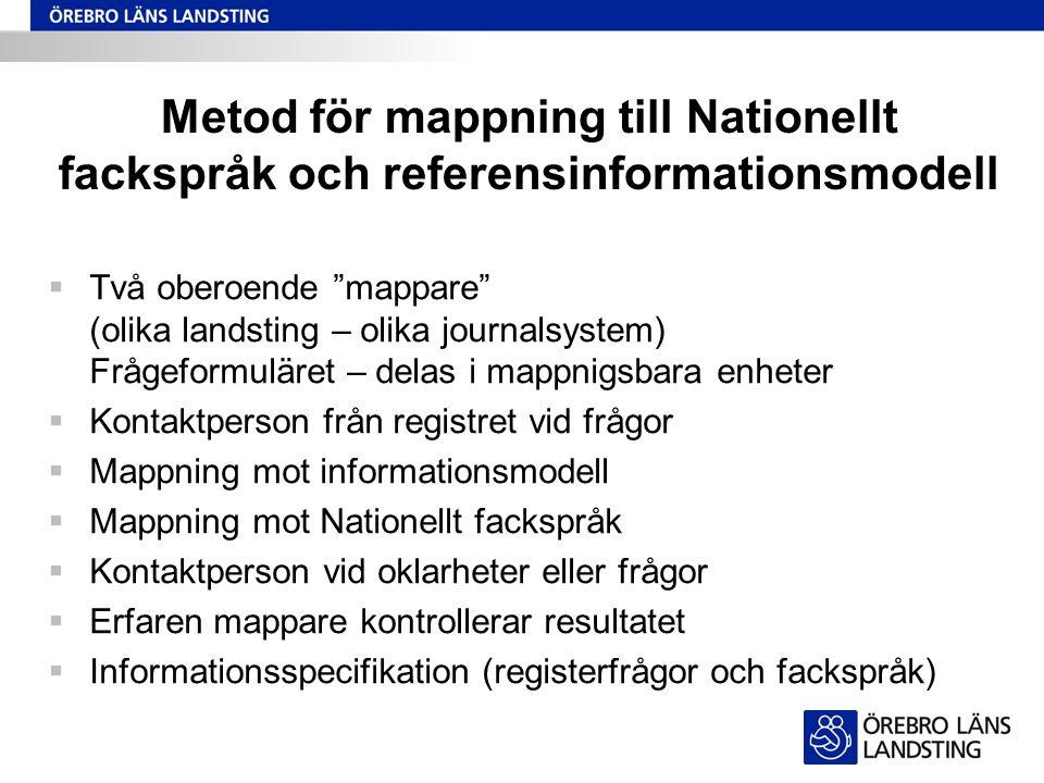 """Metod för mappning till Nationellt fackspråk och referensinformationsmodell  Två oberoende """"mappare"""" (olika landsting – olika journalsystem) Frågefor"""