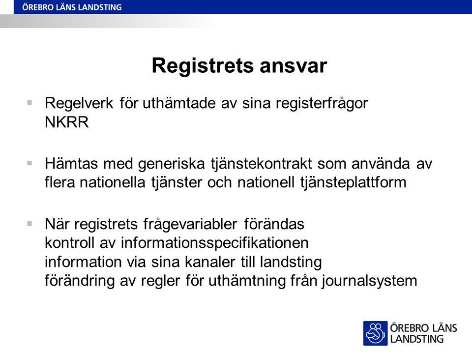 Registrets ansvar  Regelverk för uthämtade av sina registerfrågor NKRR  Hämtas med generiska tjänstekontrakt som använda av flera nationella tjänste