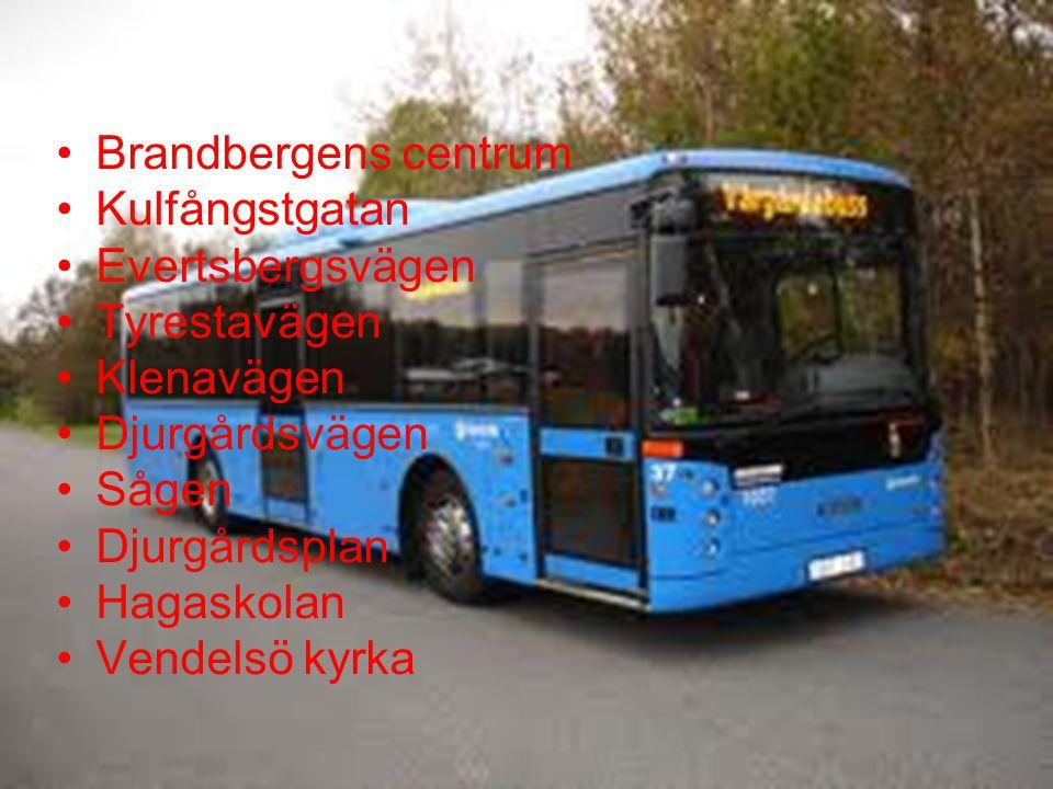 Brandbergens centrum Kulfångstgatan Evertsbergsvägen Tyrestavägen Klenavägen Djurgårdsvägen Sågen Djurgårdsplan Hagaskolan Vendelsö kyrka