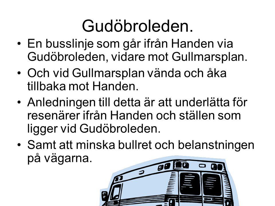 Gudöbroleden.En busslinje som går ifrån Handen via Gudöbroleden, vidare mot Gullmarsplan.