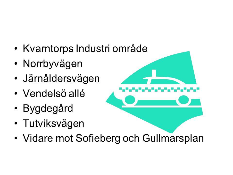 Kvarntorps Industri område Norrbyvägen Järnåldersvägen Vendelsö allé Bygdegård Tutviksvägen Vidare mot Sofieberg och Gullmarsplan