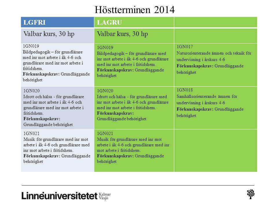 Höstterminen 2014 LGFRILAGRU Valbar kurs, 30 hp 1GN019 Bildpedagogik – för grundlärare med inr mot arbete i åk 4-6 och grundlärare med inr mot arbete i fritidshem.
