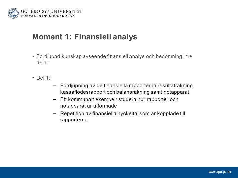 www.spa.gu.se Moment 1: Finansiell analys (forts) Del 2: –Jämförande finansiell analys för kommuner och landsting (finansiell benchmarking) –En befintlig modell (finansiella profiler) presenteras och diskuteras utifrån olika aspekter Del 3: –De två första delarna kompletteras med räkenskapsanalys för företag Examination: –Grupparbete: Finansiell jämförelse av fem kommuner/ landsting under tre år eller räkenskapsanalys av ett kommunalt bolag under fem år Momentansvarig: Hans Petersson