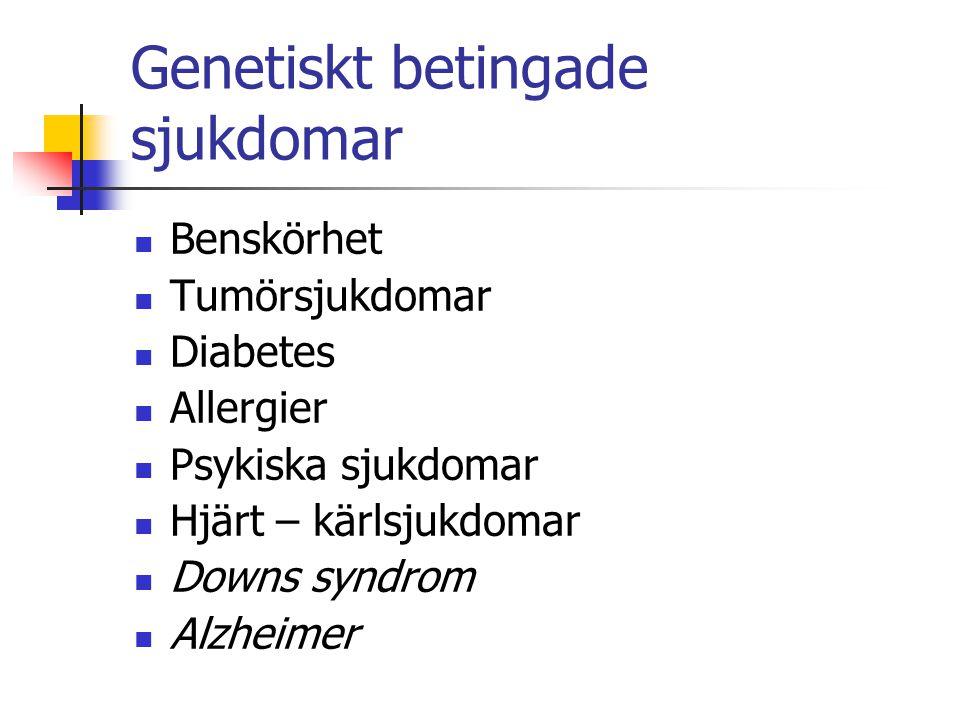 Genetiskt betingade sjukdomar Benskörhet Tumörsjukdomar Diabetes Allergier Psykiska sjukdomar Hjärt – kärlsjukdomar Downs syndrom Alzheimer