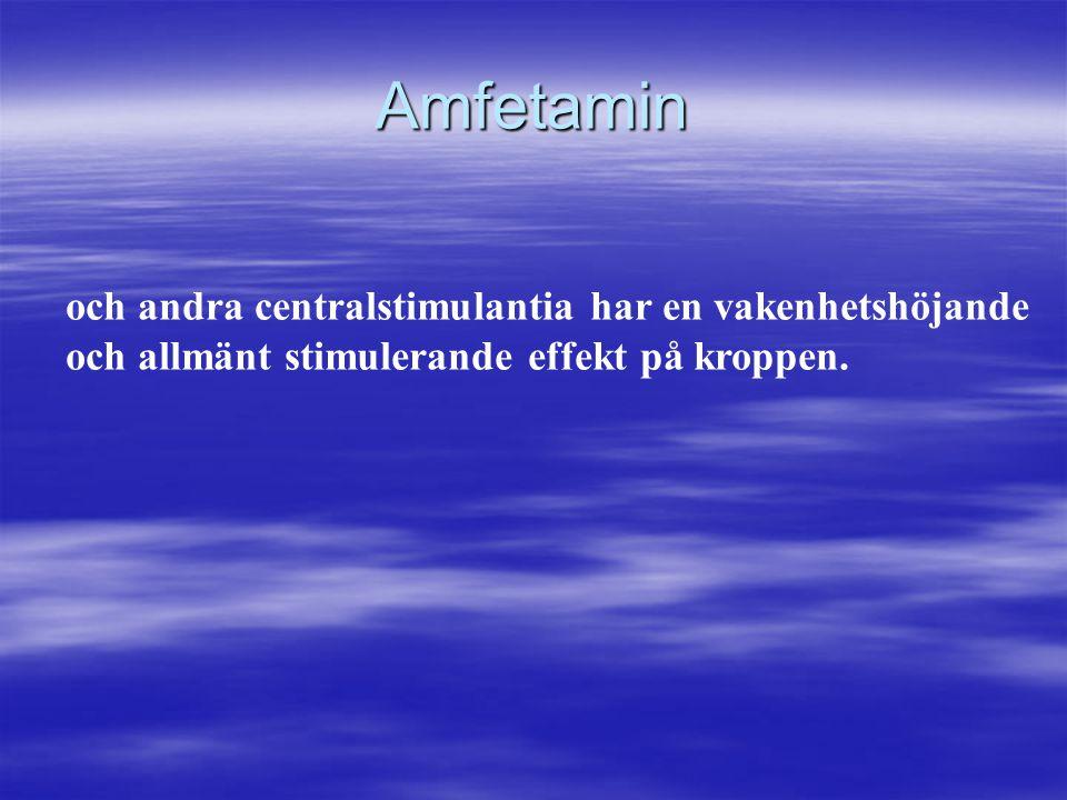 Amfetamin och andra centralstimulantia har en vakenhetshöjande och allmänt stimulerande effekt på kroppen.