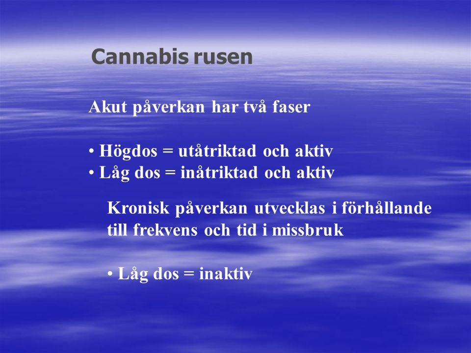 Akut påverkan har två faser Högdos = utåtriktad och aktiv Låg dos = inåtriktad och aktiv Cannabis rusen Kronisk påverkan utvecklas i förhållande till