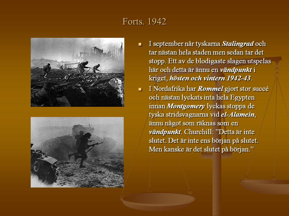 Forts. 1942 I september når tyskarna Stalingrad och tar nästan hela staden men sedan tar det stopp. Ett av de blodigaste slagen utspelas här och detta