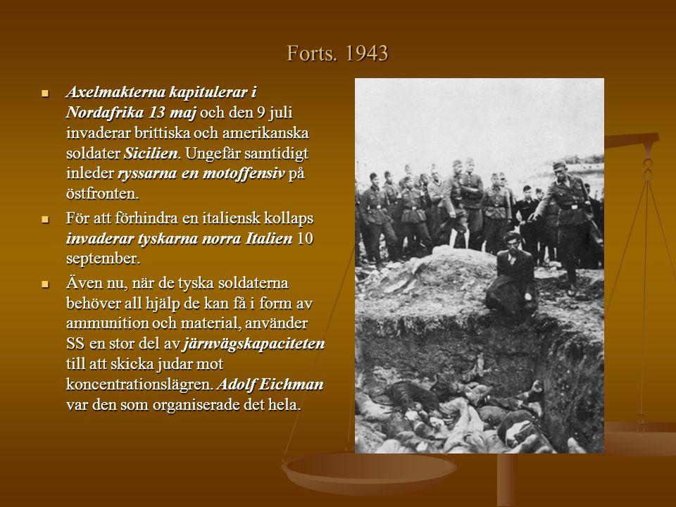 Forts. 1943 Axelmakterna kapitulerar i Nordafrika 13 maj och den 9 juli invaderar brittiska och amerikanska soldater Sicilien. Ungefär samtidigt inled