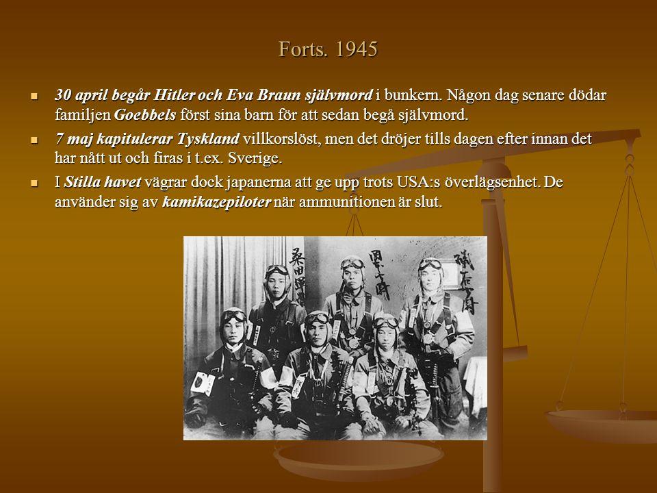 Forts. 1945 30 april begår Hitler och Eva Braun självmord i bunkern. Någon dag senare dödar familjen Goebbels först sina barn för att sedan begå själv