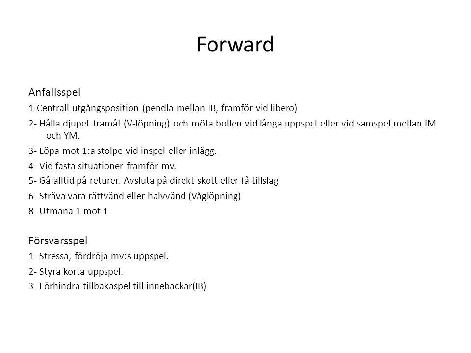 Forward Anfallsspel 1-Centrall utgångsposition (pendla mellan IB, framför vid libero) 2- Hålla djupet framåt (V-löpning) och möta bollen vid långa upp