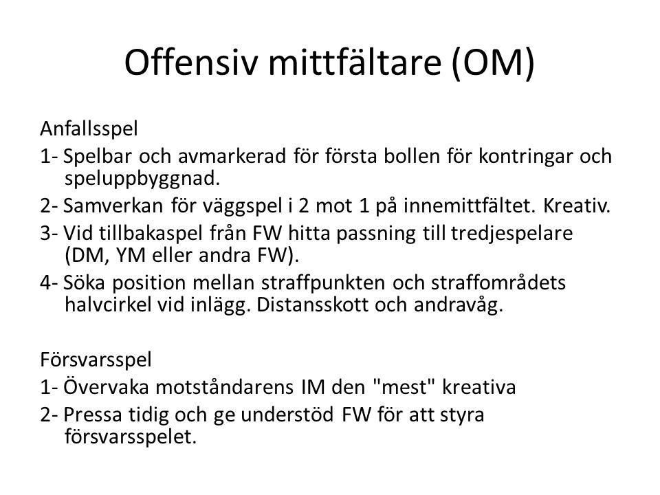 Offensiv mittfältare (OM) Anfallsspel 1- Spelbar och avmarkerad för första bollen för kontringar och speluppbyggnad. 2- Samverkan för väggspel i 2 mot