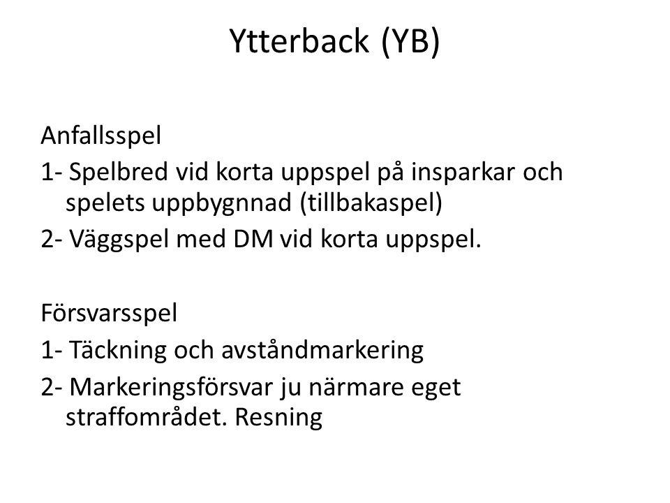 Ytterback (YB) Anfallsspel 1- Spelbred vid korta uppspel på insparkar och spelets uppbygnnad (tillbakaspel) 2- Väggspel med DM vid korta uppspel. Förs