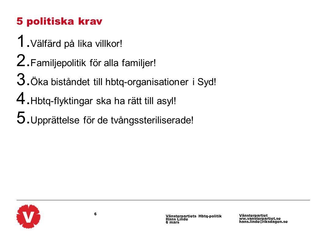 6 Vänsterpartiet ww.vansterpartiet.se hans.linde@riksdagen.se Vänsterpartiets Hbtq-politik Hans Linde 6 mars 5 politiska krav 1. Välfärd på lika villk