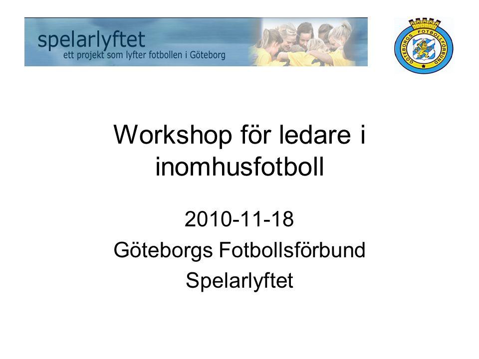 Workshop för ledare i inomhusfotboll 2010-11-18 Göteborgs Fotbollsförbund Spelarlyftet