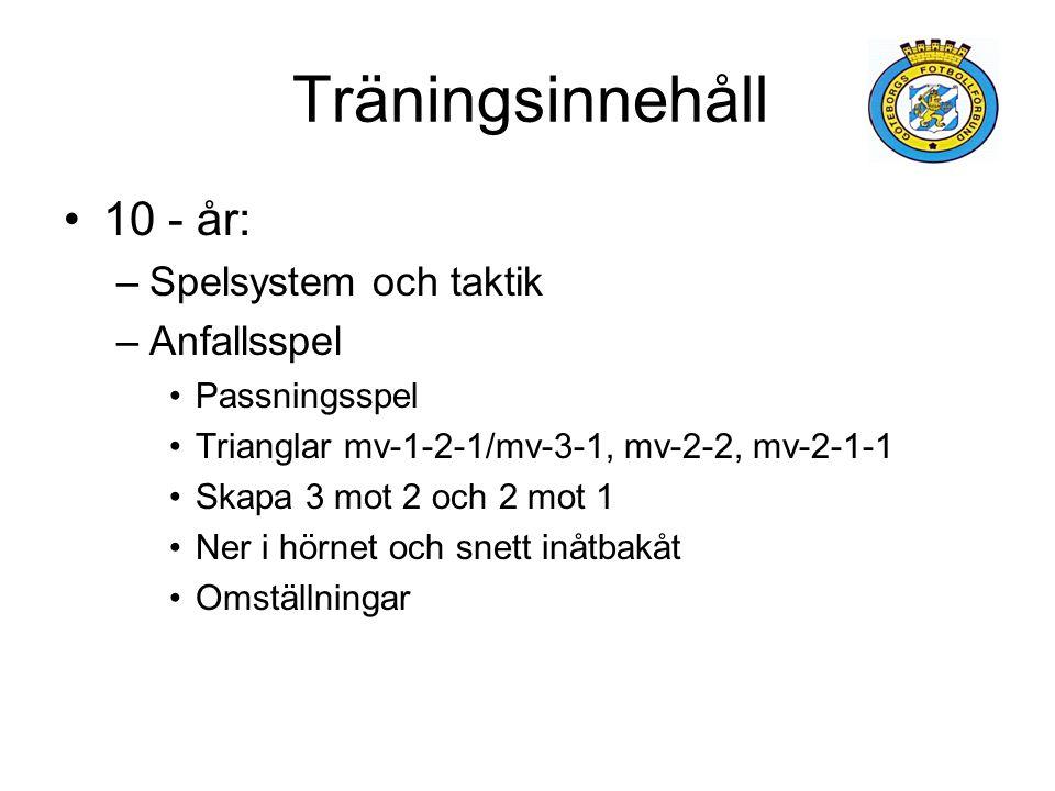 Träningsinnehåll 10 - år: –Spelsystem och taktik –Anfallsspel Passningsspel Trianglar mv-1-2-1/mv-3-1, mv-2-2, mv-2-1-1 Skapa 3 mot 2 och 2 mot 1 Ner