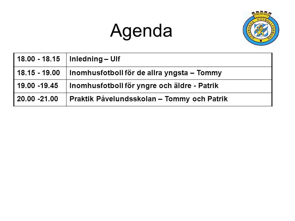 Agenda 18.00 - 18.15Inledning – Ulf 18.15 - 19.00Inomhusfotboll för de allra yngsta – Tommy 19.00 -19.45Inomhusfotboll för yngre och äldre - Patrik 20