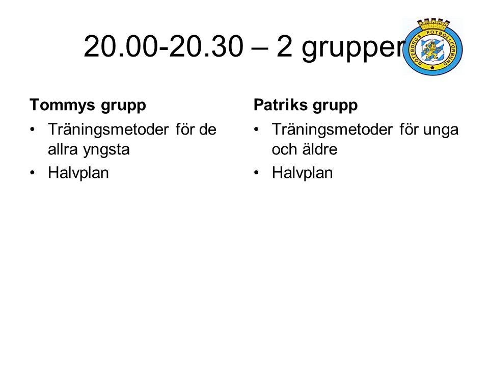 20.00-20.30 – 2 grupper Tommys grupp Träningsmetoder för de allra yngsta Halvplan Patriks grupp Träningsmetoder för unga och äldre Halvplan