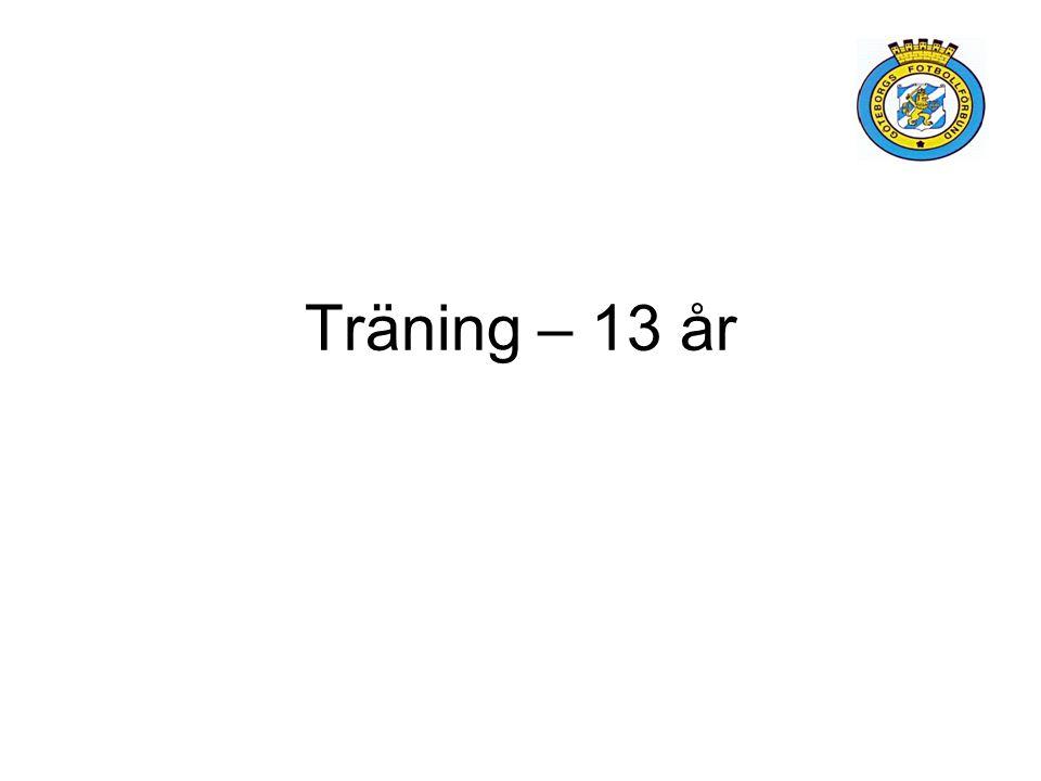 Träningsinnehåll - 13 år: –Teknik –Kroppskontroll och koordination Exempelträning: –Liten hall 20*10m –1/3 Fotbollsworkout –1/3 Kroppskontroll, balans och koordination –1/3 Smålagsspel (3 mot 3)