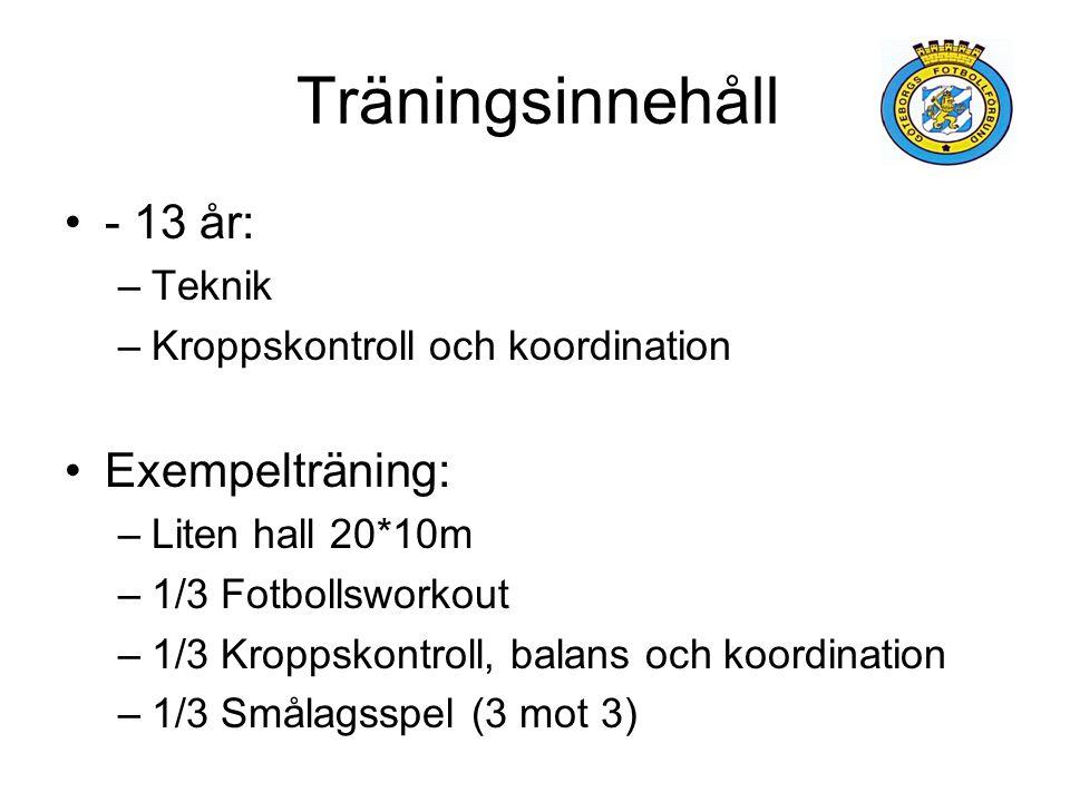 Träningsinnehåll - 13 år: –Teknik –Kroppskontroll och koordination Exempelträning: –Liten hall 20*10m –1/3 Fotbollsworkout –1/3 Kroppskontroll, balans