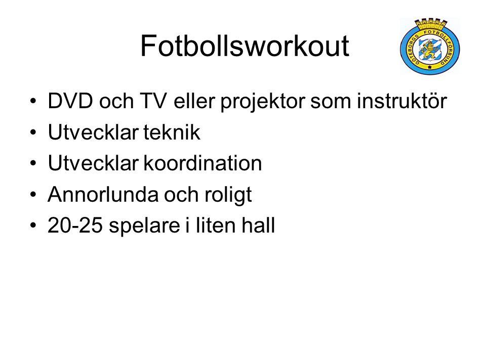 Fotbollsworkout DVD och TV eller projektor som instruktör Utvecklar teknik Utvecklar koordination Annorlunda och roligt 20-25 spelare i liten hall