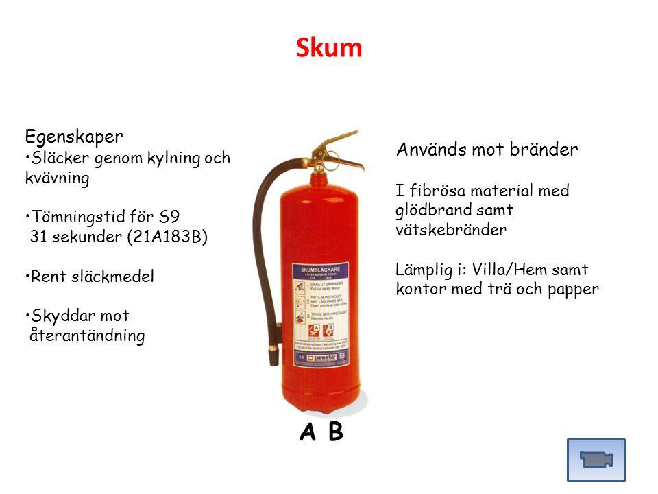 Egenskaper Släcker genom kylning och kvävning Tömningstid för S9 31 sekunder (21A183B) Rent släckmedel Skyddar mot återantändning Används mot bränder