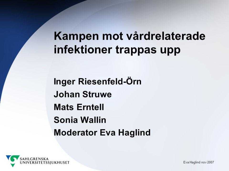 Eva Haglind nov 2007 Kampen mot vårdrelaterade infektioner trappas upp Inger Riesenfeld-Örn Johan Struwe Mats Erntell Sonia Wallin Moderator Eva Haglind