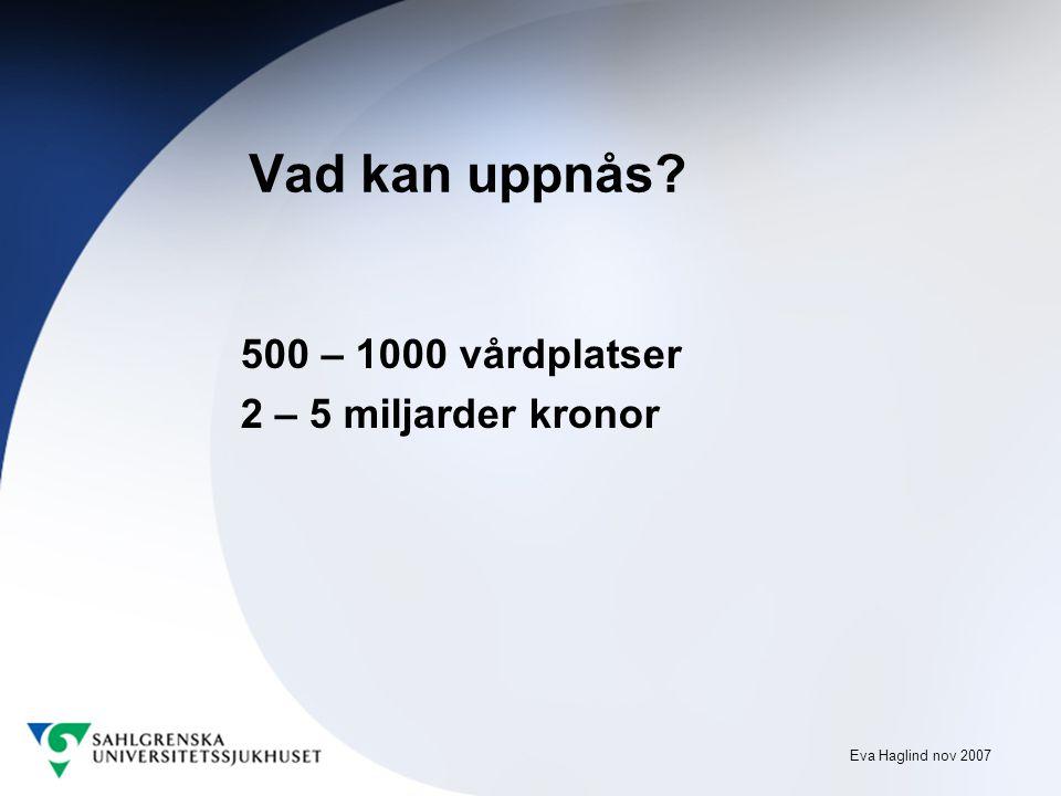 Eva Haglind nov 2007 Vad kan uppnås 500 – 1000 vårdplatser 2 – 5 miljarder kronor