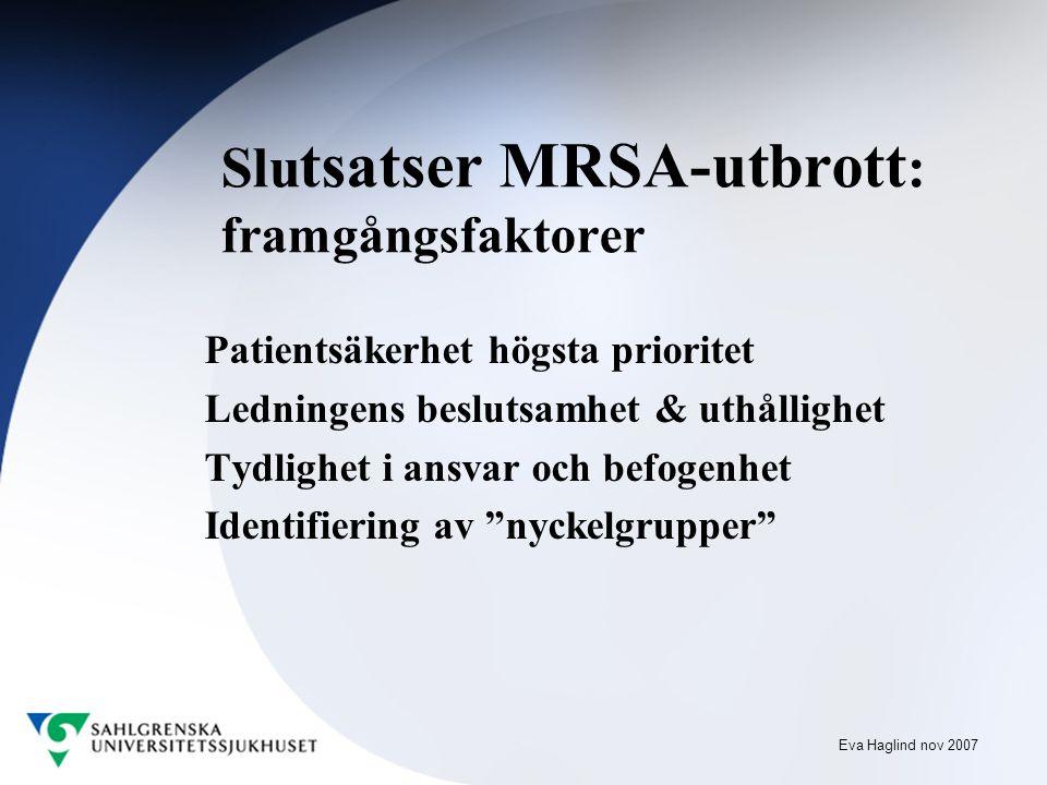Eva Haglind nov 2007 Slu tsatser MRSA-utbrott : framgångsfaktorer Patientsäkerhet högsta prioritet Ledningens beslutsamhet & uthållighet Tydlighet i ansvar och befogenhet Identifiering av nyckelgrupper