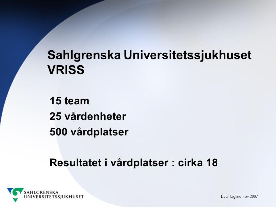 Eva Haglind nov 2007 Sahlgrenska Universitetssjukhuset VRISS 15 team 25 vårdenheter 500 vårdplatser Resultatet i vårdplatser : cirka 18