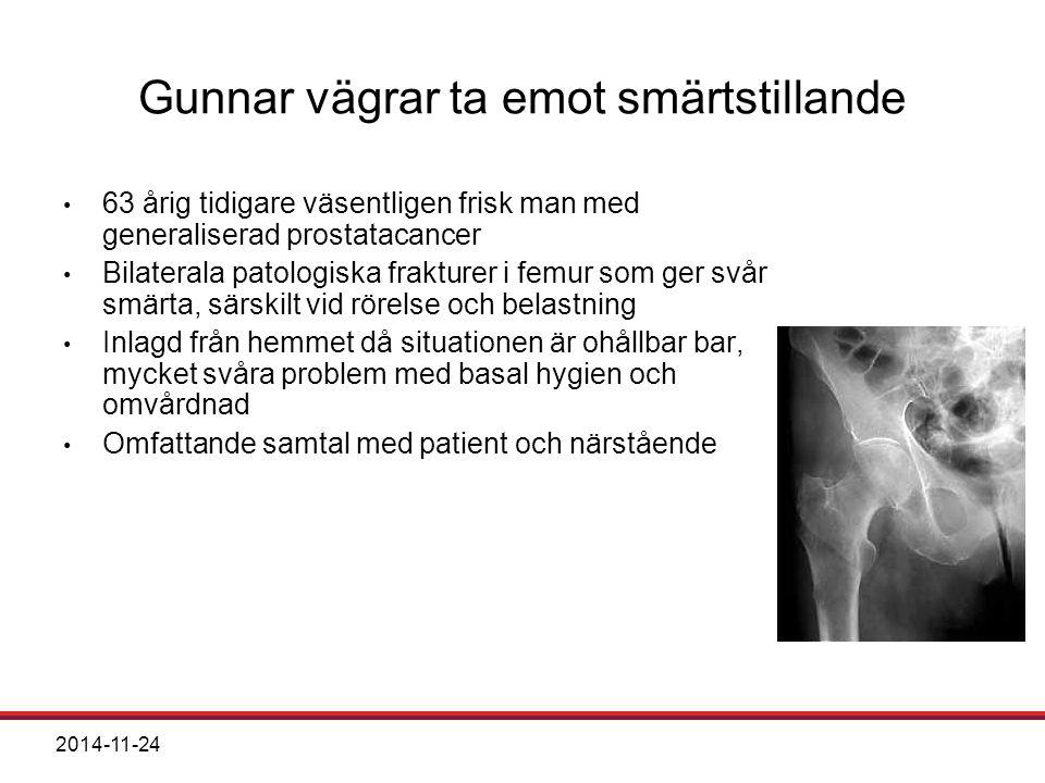 2014-11-24 Gunnar vägrar ta emot smärtstillande 63 årig tidigare väsentligen frisk man med generaliserad prostatacancer Bilaterala patologiska fraktur