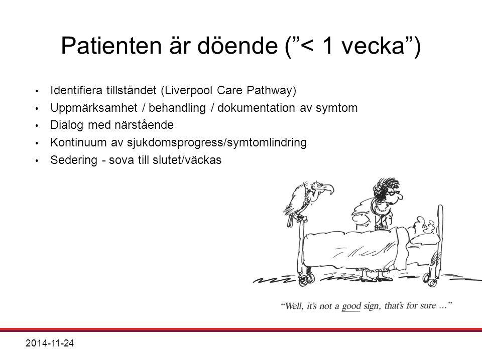 Patienten är döende ( < 1 vecka ) Identifiera tillståndet (Liverpool Care Pathway) Uppmärksamhet / behandling / dokumentation av symtom Dialog med närstående Kontinuum av sjukdomsprogress/symtomlindring Sedering - sova till slutet/väckas