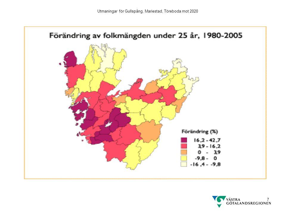 Utmaningar för Gullspång, Mariestad, Töreboda mot 2020 28 Ohälsans utveckling