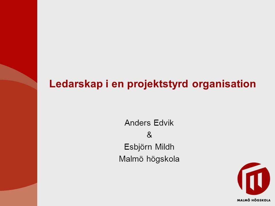 Ledarskap i en projektstyrd organisation Anders Edvik & Esbjörn Mildh Malmö högskola