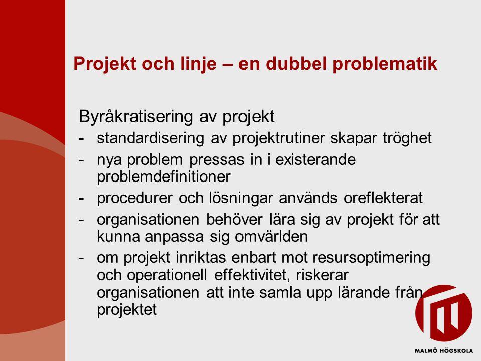 Projekt och linje – en dubbel problematik Byråkratisering av projekt -standardisering av projektrutiner skapar tröghet -nya problem pressas in i exist