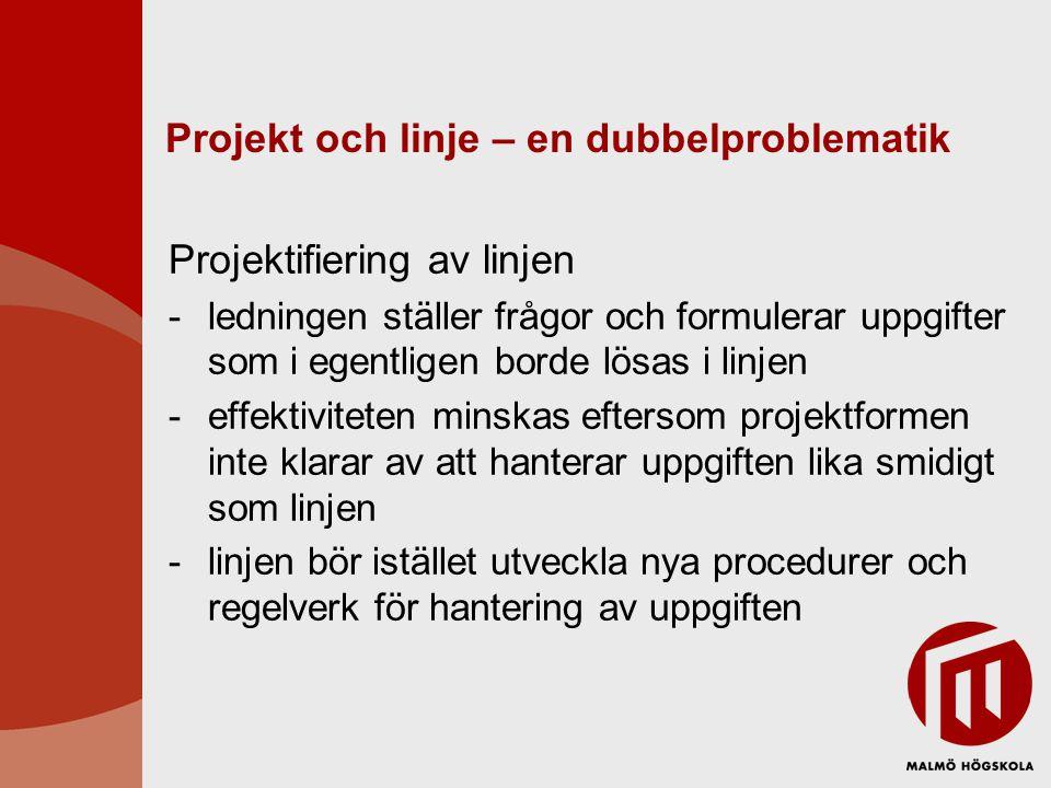 Projekt och linje – en dubbelproblematik Projektifiering av linjen -ledningen ställer frågor och formulerar uppgifter som i egentligen borde lösas i l