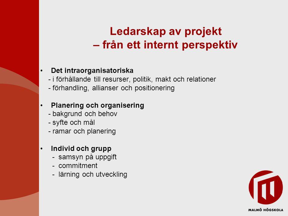 Ledarskap av projekt – från ett internt perspektiv Det intraorganisatoriska - i förhållande till resurser, politik, makt och relationer - förhandling,