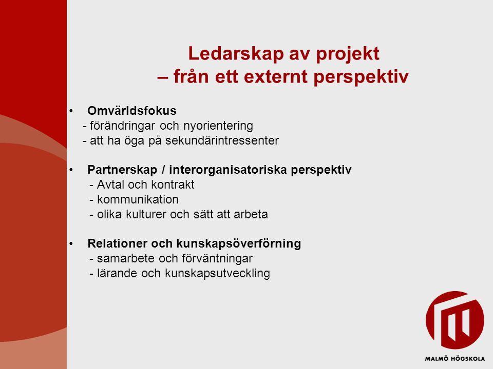 Ledarskap av projekt – från ett externt perspektiv Omvärldsfokus - förändringar och nyorientering - att ha öga på sekundärintressenter Partnerskap / i