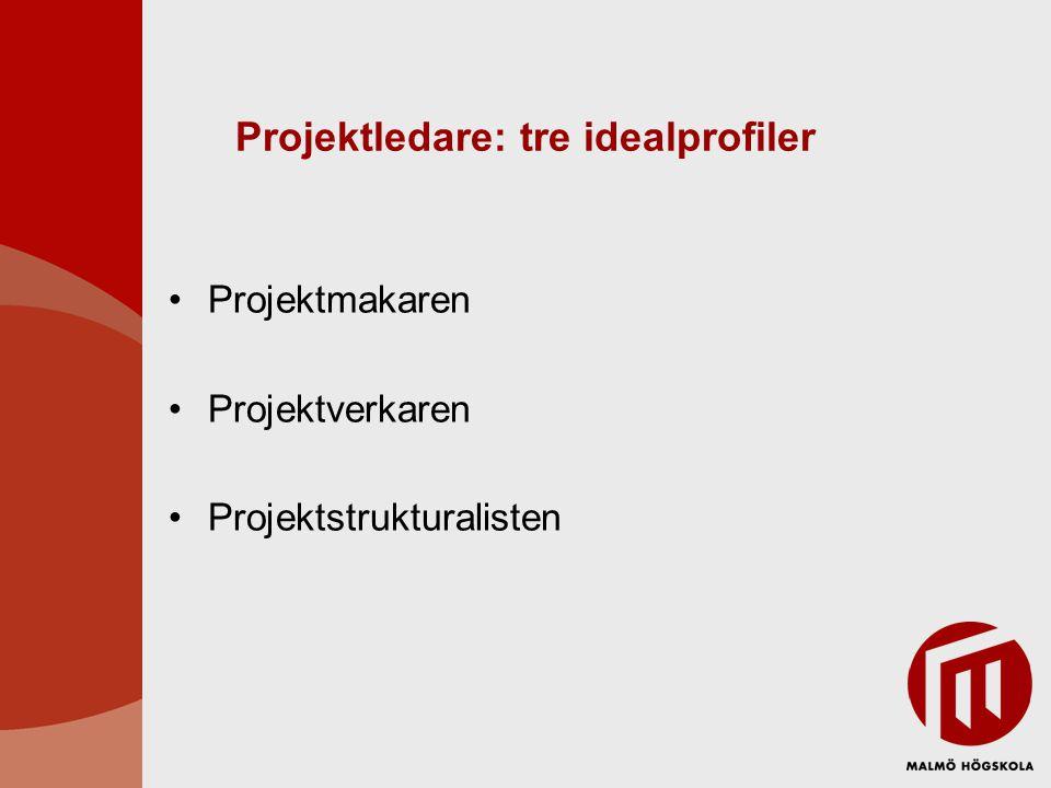 Projektledare: tre idealprofiler Projektmakaren Projektverkaren Projektstrukturalisten