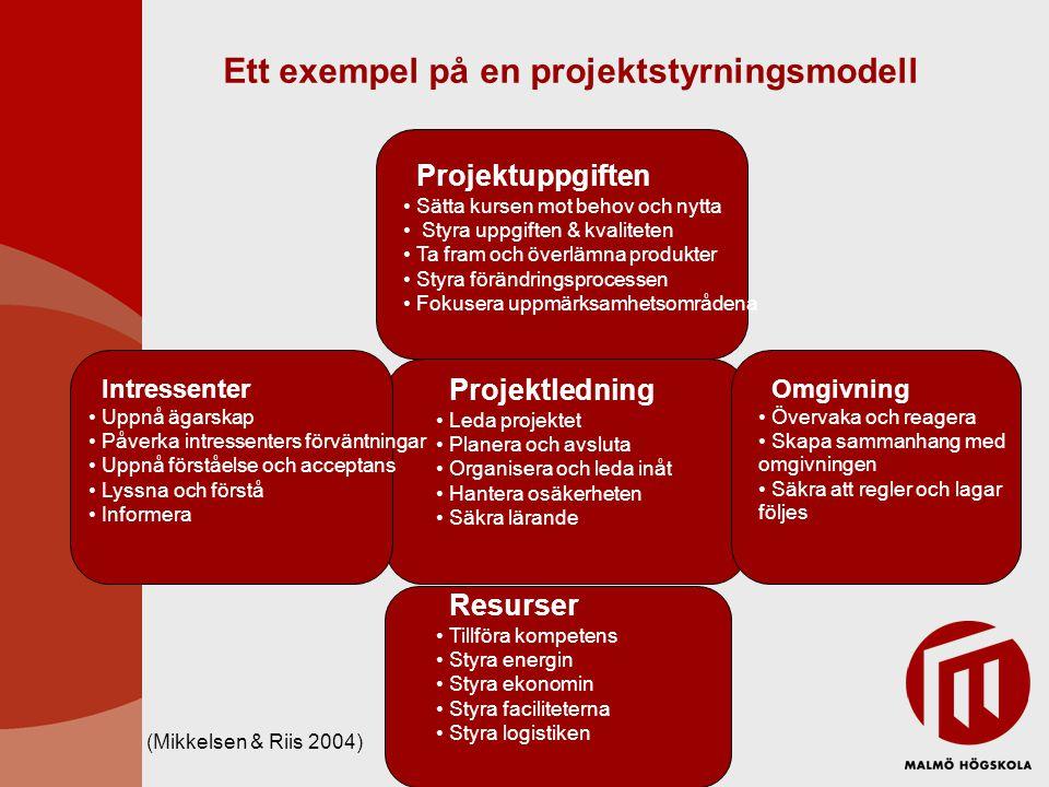 Ett exempel på en projektstyrningsmodell Projektuppgiften Sätta kursen mot behov och nytta Styra uppgiften & kvaliteten Ta fram och överlämna produkte