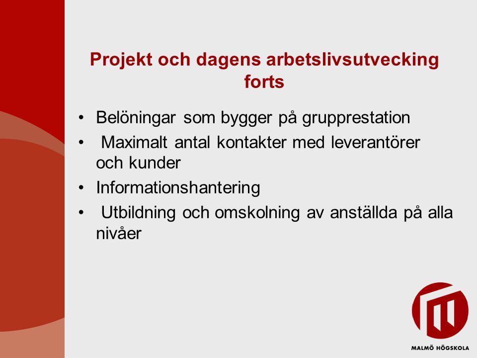 Projekt och dagens arbetslivsutvecking forts Belöningar som bygger på grupprestation Maximalt antal kontakter med leverantörer och kunder Informations