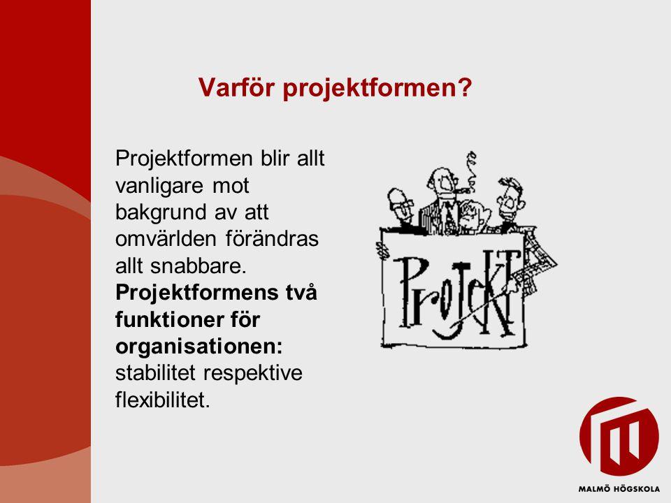 Varför projektformen? Projektformen blir allt vanligare mot bakgrund av att omvärlden förändras allt snabbare. Projektformens två funktioner för organ