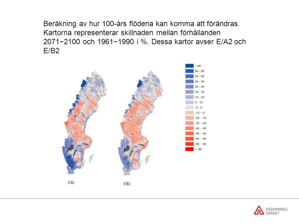 Genomsnittlig förändring av tillrinningen till Mälaren enligt fyra klimatscenarier för perioden 2071  2100.