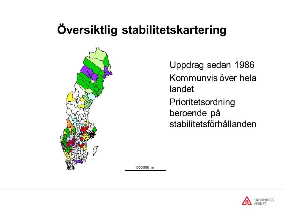 Översiktlig stabilitetskartering Regeringens uppdrag sedan 1987 att utföra stabilitetskarteringar i bebyggda områden inom alla kommuner.