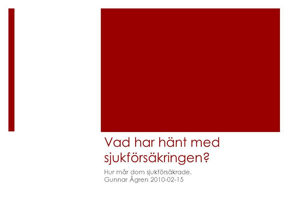 Vad har hänt med sjukförsäkringen? Hur mår dom sjukförsäkrade. Gunnar Ågren 2010-02-15
