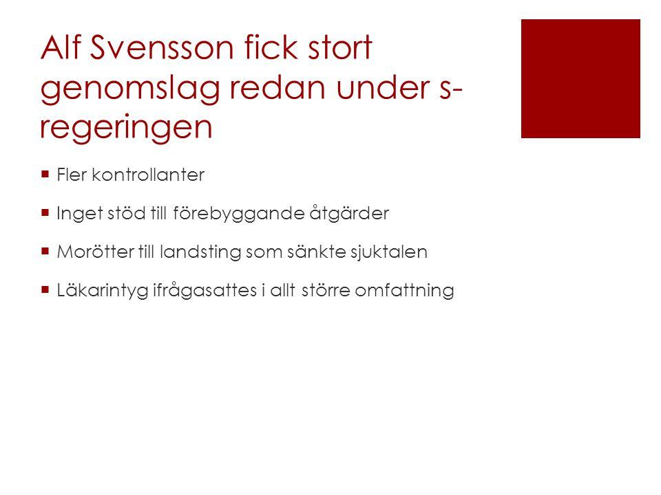 Alf Svensson fick stort genomslag redan under s- regeringen  Fler kontrollanter  Inget stöd till förebyggande åtgärder  Morötter till landsting som sänkte sjuktalen  Läkarintyg ifrågasattes i allt större omfattning