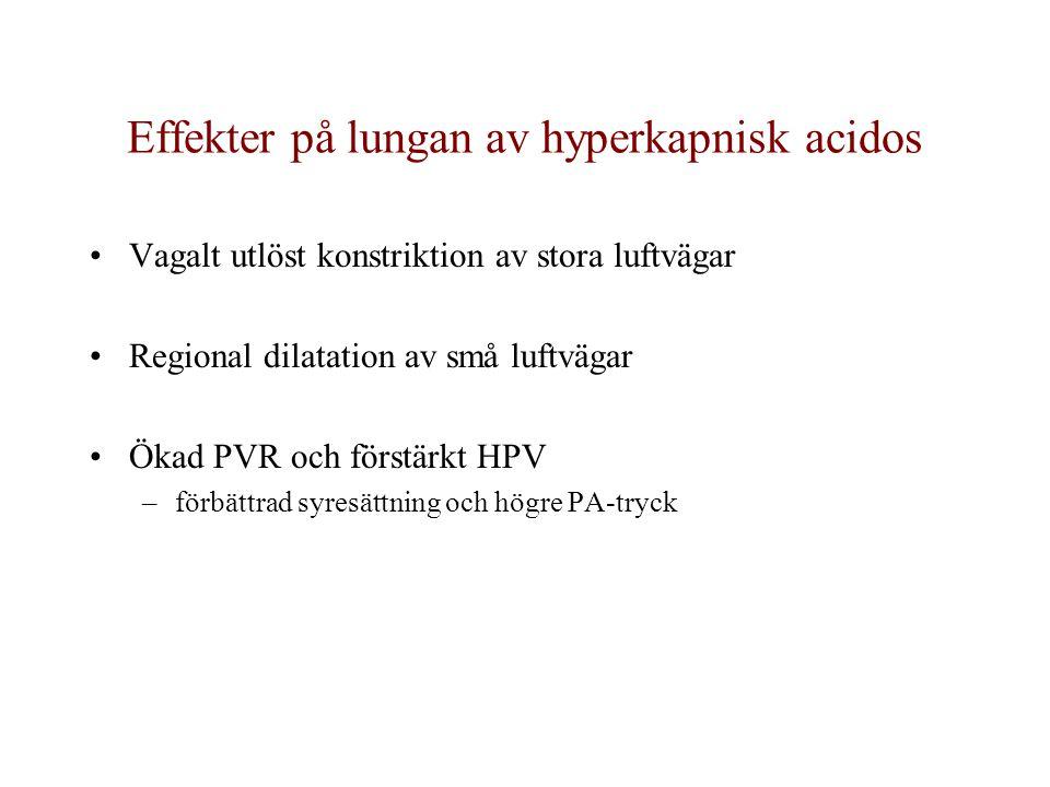 Effekter på lungan av hyperkapnisk acidos Vagalt utlöst konstriktion av stora luftvägar Regional dilatation av små luftvägar Ökad PVR och förstärkt HPV –förbättrad syresättning och högre PA-tryck