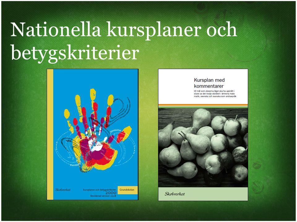 Kursplanerna beskriver de olika ämnena och deras syfte och roll i utbildningen.