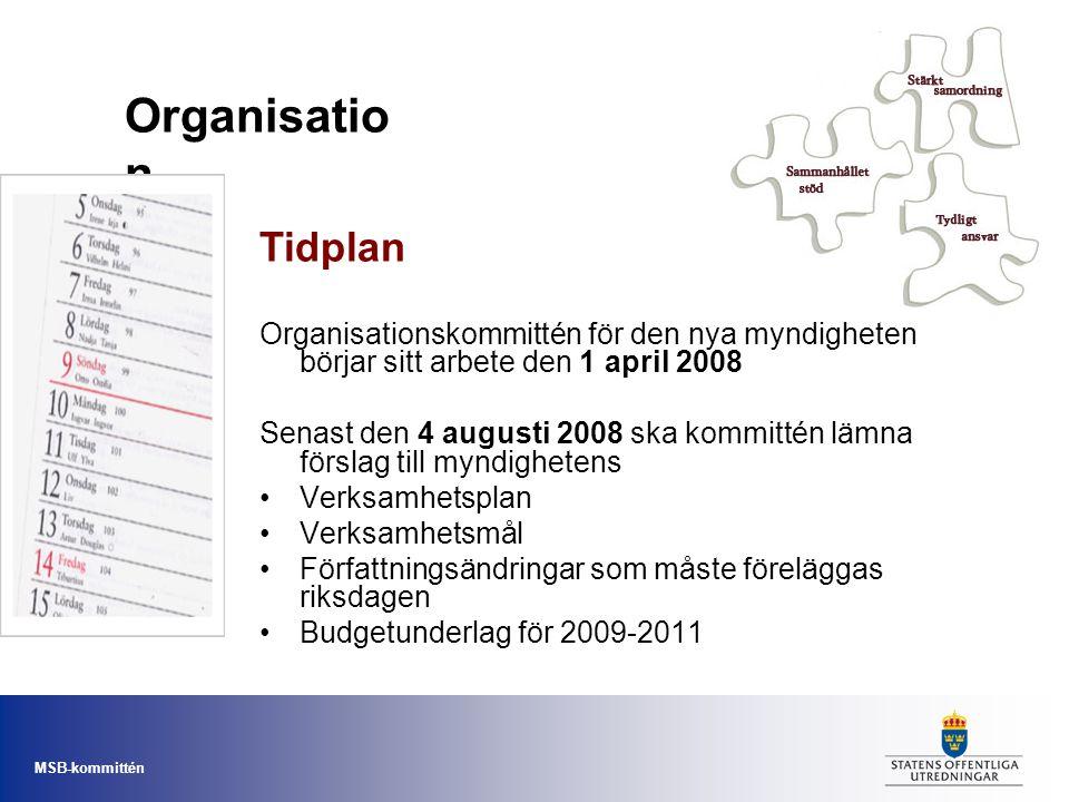 MSB-kommittén Organisationskommittén för den nya myndigheten börjar sitt arbete den 1 april 2008 Senast den 4 augusti 2008 ska kommittén lämna förslag